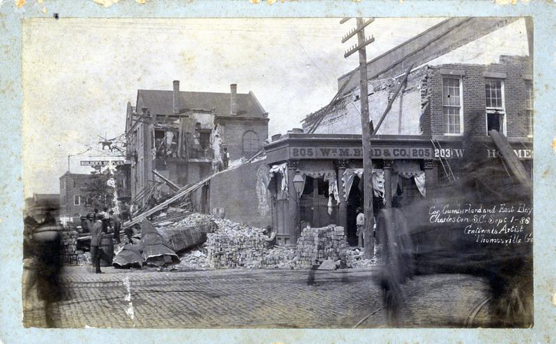 Corner of Cumberland and East Bay, Charleston, South Carolina, 1886, courtesy of the Waring Historical Library, Medical University of South Carolina, Charleston Earthquake Photographs.