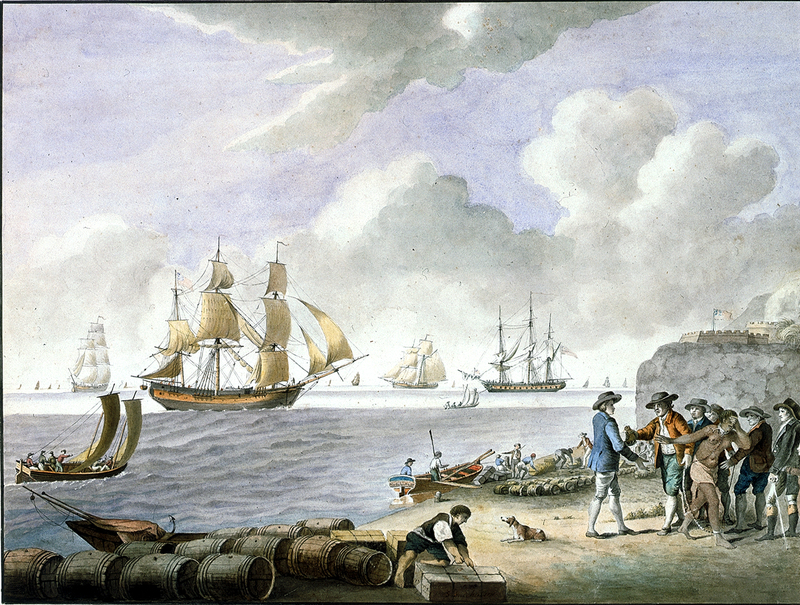 """Slave Traffic,"" painting by S. Hutchinson, 1793, courtesy of National Maritime Museum, Greenwich, London."