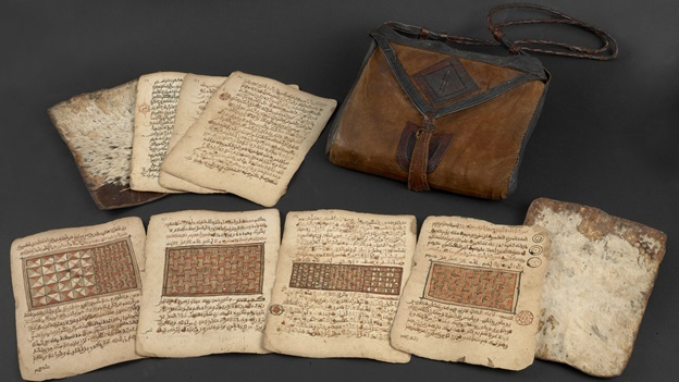 Qur'an and leather bag, Hausaland region, Bornu Empire, late eighteenth century, courtesy of the British Library.
