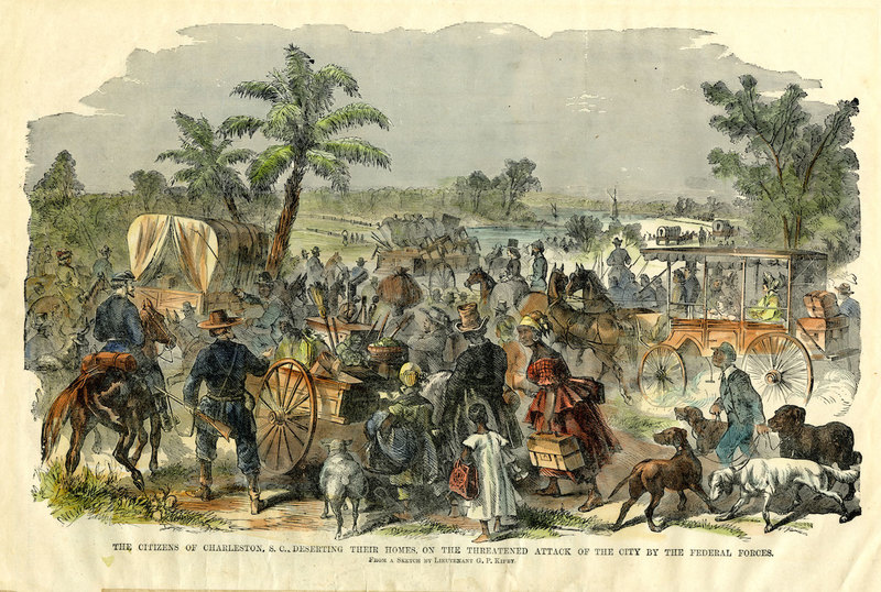 """""""The citizens of Charleston, S.C., deserting their homes, on the threatened attack of the city by the Federal Forces,"""" <em>The Soldier in Our Civil War</em>, Charleston, South Carolina, c. 1861-1865, The Charleston Museum Illustrated Newspapers Collection, courtesy of the Charleston Museum Archives."""