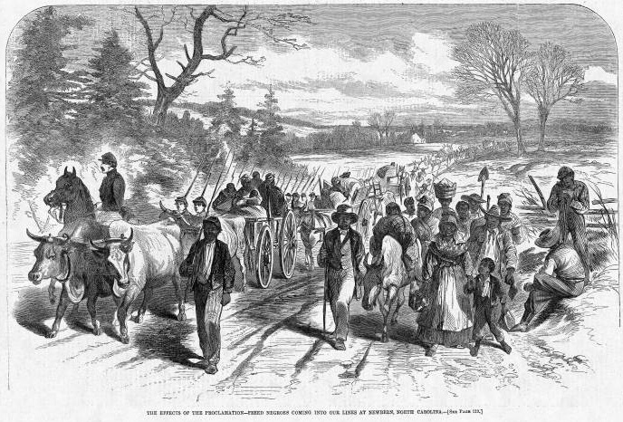 """""""The effects of the proclamation - freed Negroes coming into our lines at Newbern, North Carolina,"""" 1863, wood engraving, <em>Harper's Weekly</em>, courtesy of Library of Congress Prints and Photographs Division."""