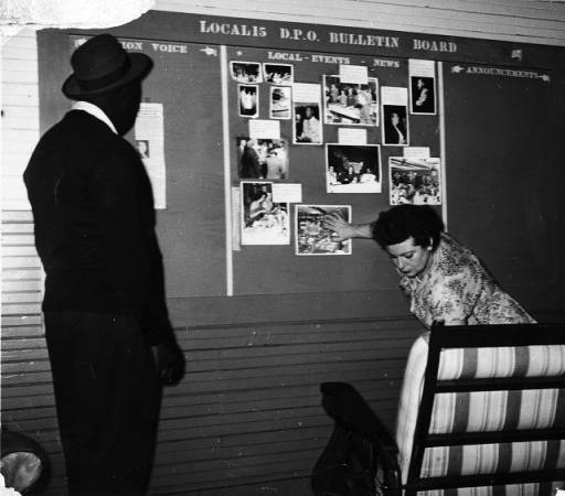 <p>Bulletin board outling DPO-Local 15 events and news after Local 15 absorbed into the Distributive, Processing, Office Workers of America (DPO), ca. 1952, Georgia State University, Southern Labor Archives.</p>