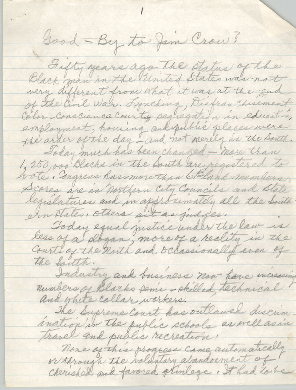 """Good-bye to Jim Crow?"", handwritten essay by Septima P. Clark ""regarding the basic historic differences between black and white America,"" n.d., Septima P. Clark Papers, courtesy of the Avery Research Center."