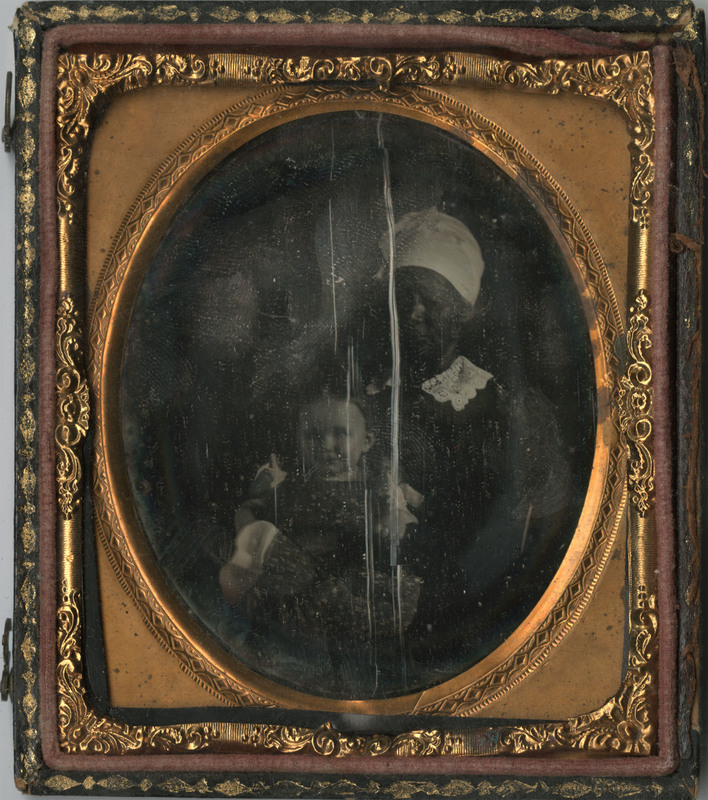 Daguerreotype of an enslaved woman with a child, circa 1840s, courtesy of Avery Research Center for African American History and Culture.