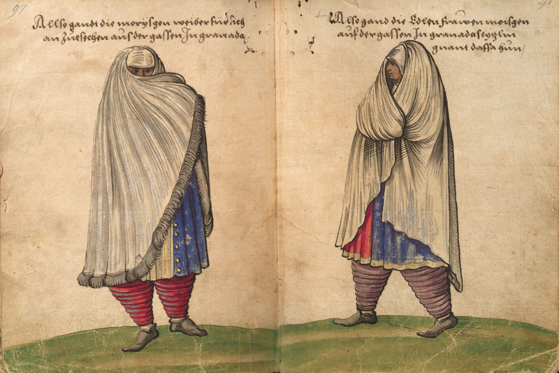 Moriscos, drawing from Trachtenbuch by  Christoph Weiditz, ca. 1530-1540, courtesy of the Germanisches National Museum. Weiditz was a German painter who documented European peasant costumes.