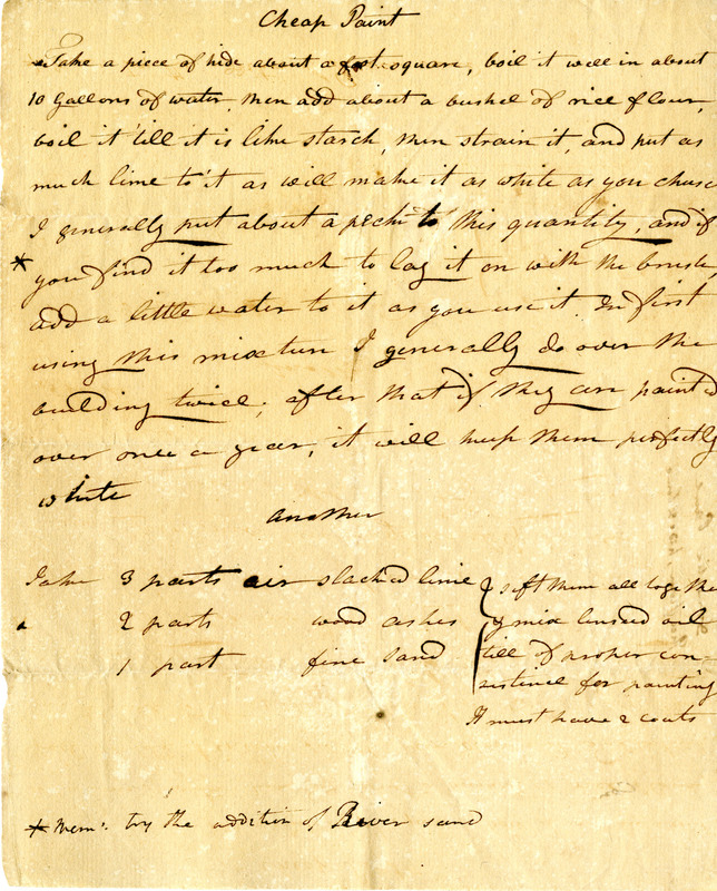 "Recipe for ""Cheap Paint"" made with rice flour and lime, ca. 1790-1821, Thomas Pinckney Papers, courtesy of the South Carolina Historical Society."