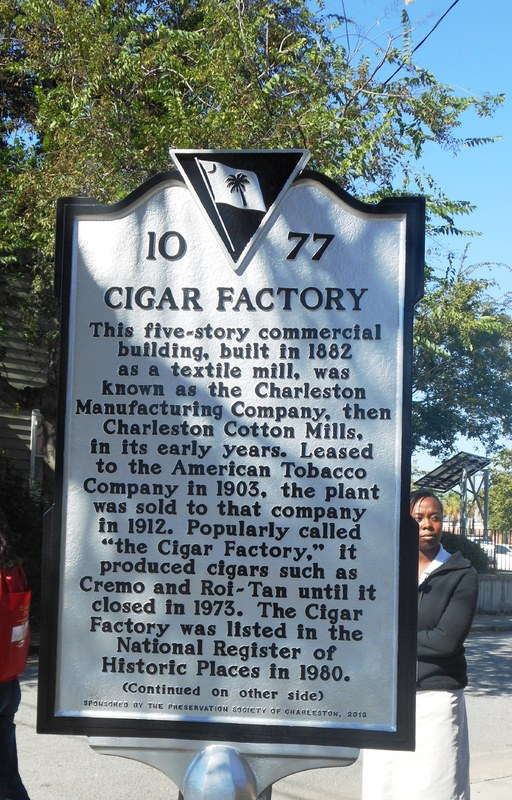 Historic marker for the Cigar Factory, image by Kerry Taylor, Charleston, South Carolina, October 2013.