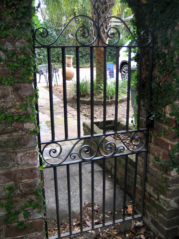 Garden gate, 113 Broad Street, photograph by Bradley Blankemeyer, Charleston, South Carolina, November 2013.