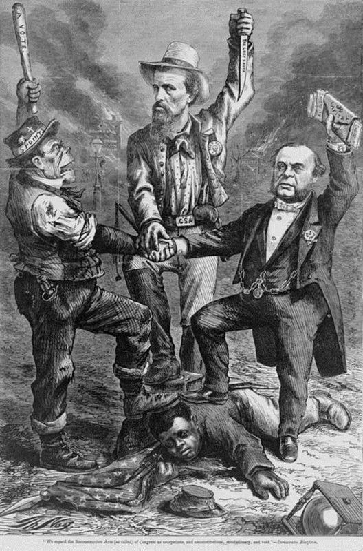 """This is a white man's government,"" Democratic platform regarding the Reconstruction Acts, 1868, print by Thomas Nast, <em>Harper's Weekly</em>, courtesy of Library of Congress Prints and Photographs Division."