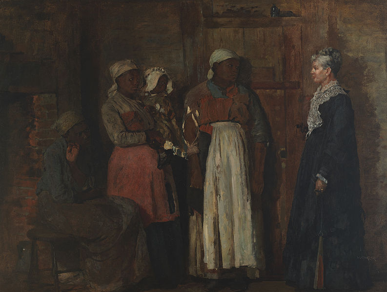 """""""A Visit from the Old Mistress,"""" painting by Winslow Homer, 1876, courtesy of the Smithsonian American Art Museum."""