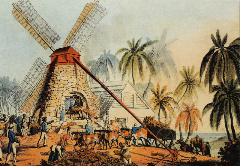 Sugar processing on the English colony of Antigua, drawing created by William Clark, 1823, courtesy of the John Carter Brown Library.