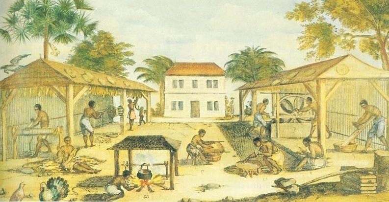 Slaves working on a tobacco plantation in seventeenth century Virginia, 1670.