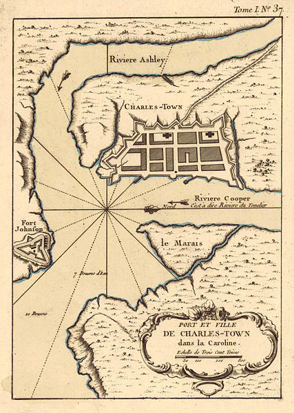 Map of Charles Town, South Carolina, 1764, courtesy of the University of Alabama Department of Geography.