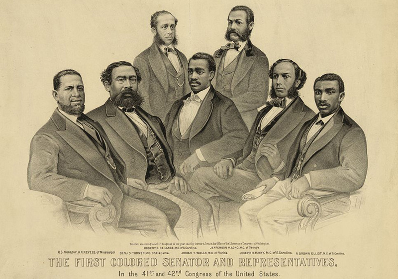 """""""The first colored senator and representatives - in the 41st and 42nd Congress of the United States,"""" New York, 1872, <em>Currier &amp; Ives</em>, courtesy of Library of Congress Prints and Photographs Division."""
