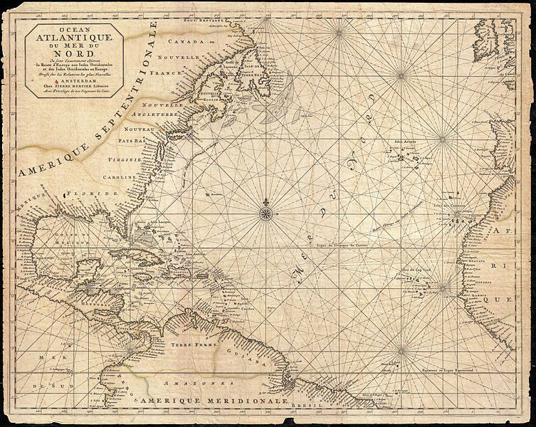 Map of North America, the West Indies, and the Atlantic Ocean, by P. Mortier, 1693.
