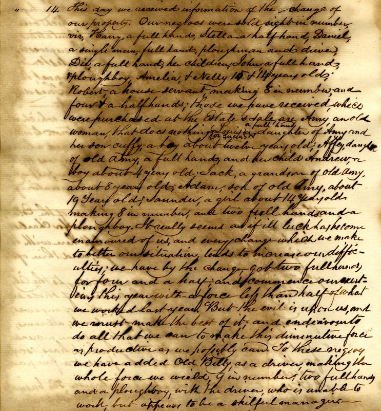 <p>Description of a slave sale and the enslaved labor force at Jericho Plantation, Mathurin Guerin Gibbs Plantation Register, Bethera, South Carolina, January 14, 1845, courtesy of the South Carolina Historical Society.</p>