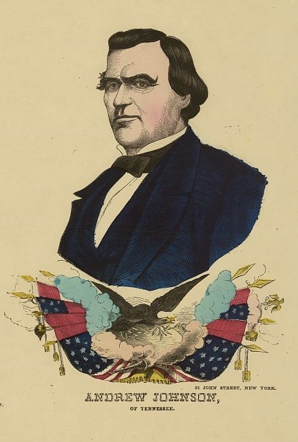 """Andrew Johnson of Tennessee,"" New York, New York, 1864, engraving by Gabriel Kaehrle, H.H. Lloyd & Co., courtesy of Library of Congress Prints and Photographs Division."