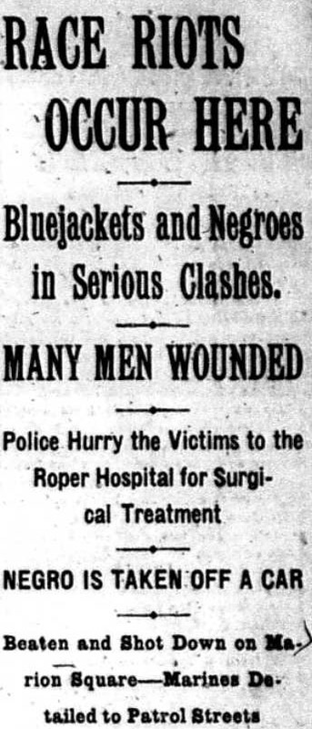 """""""Race Riot Occurs Here,""""<em> The News and Courier</em>, May 11, 1910, courtesy of College of Charleston Libraries."""