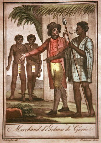 Slave traders in Gorée, Senegal, by Jacques Grasset de Saint-Sauveur, ca. eighteenth century.