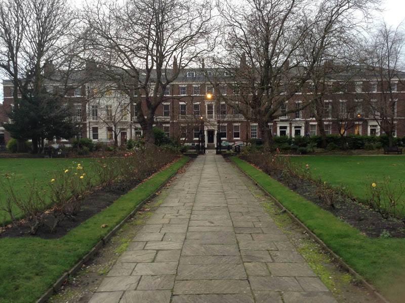 West side of Abercromby Square, photograph by Chris Williams, Liverpool, England, 2015.