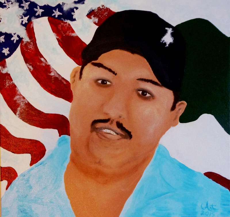 <em>Garcia's American Dream</em>, painting by Art Gomez, Charleston, South Carolina, 2015. Born in California, Gomez' art is informed by his Latino and Apache heritage. This painting was inspired by the story of Charleston resident Santos Garcia, who was deported to Mexico afer a minor car accident in early November 2014. He left behind his wife and three young children in Charleston.
