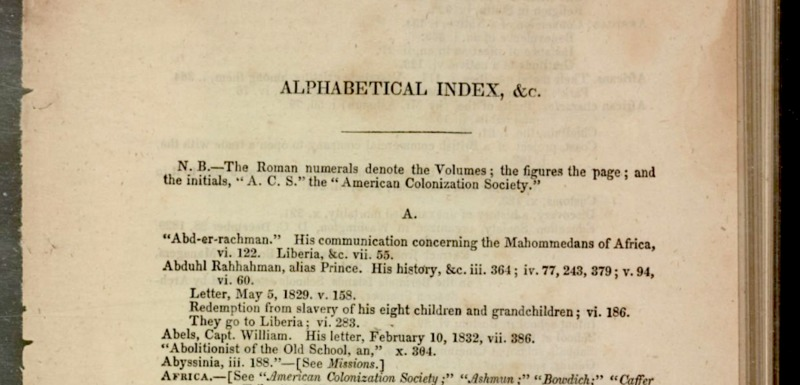 First index page listing manumissions to date by the American Colonization Society, Washington, DC, 1835, courtesy of Library of Congress.