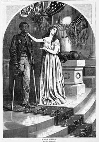 &ldquo;Franchise. And not this man?,&rdquo; wood engraving by Thomas Nash,&nbsp;1865,&nbsp;<em>Harper's Weekly</em>, courtesy of the Library of Congress Prints and Photographs Division.