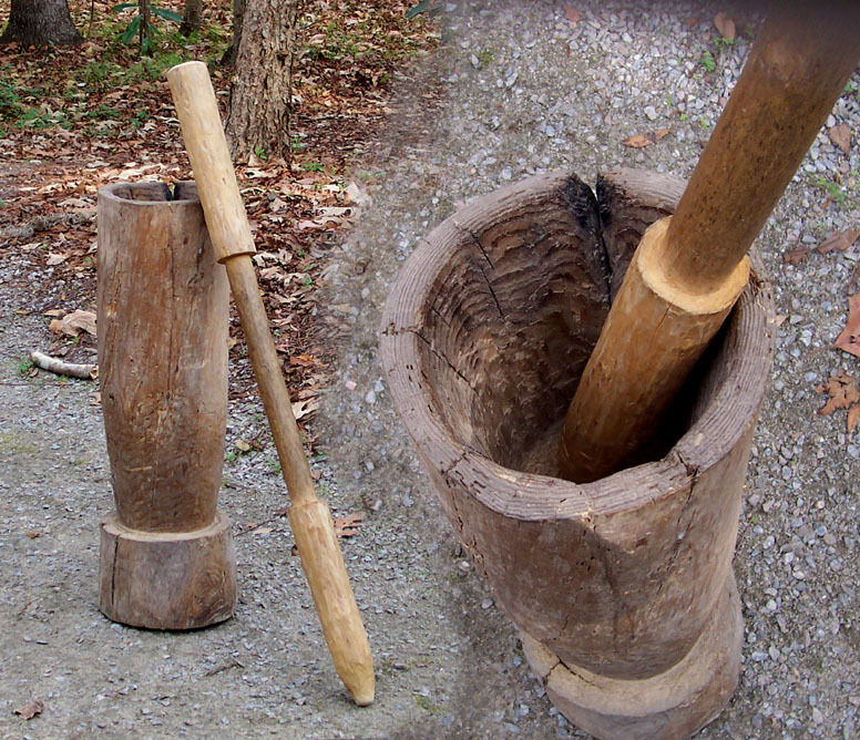 Mortar and pestle used for pounding rice to remove husks in rice growing regions of West Africa and the Lowcountry, photograph by Jane Aldrich, ca. 2000, image courtesy of Jane Aldrich and Drayton Hall.