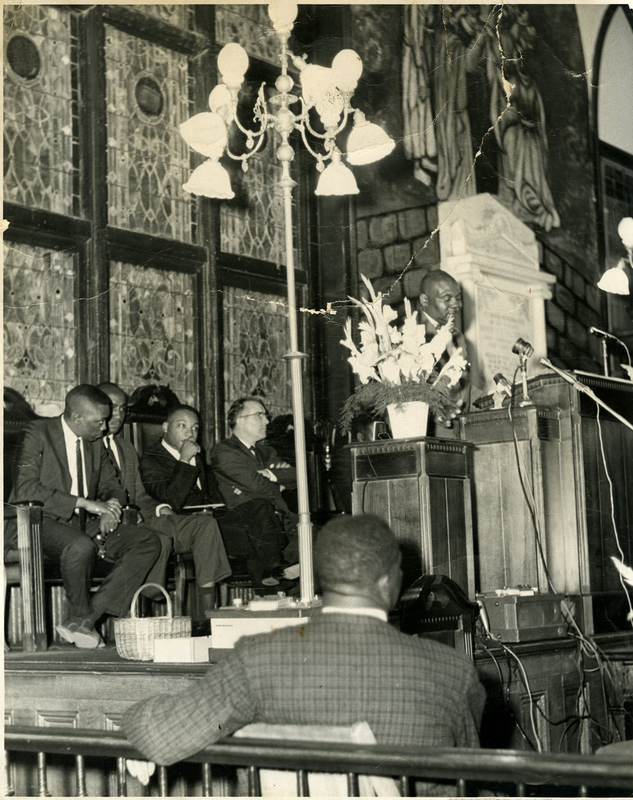 Dr. Martin Luther King Jr. attending community planning meeting at the Emanuel AME Church, May 18, 1962, Charleston, South Carolina, courtesy of the Avery Research Center.