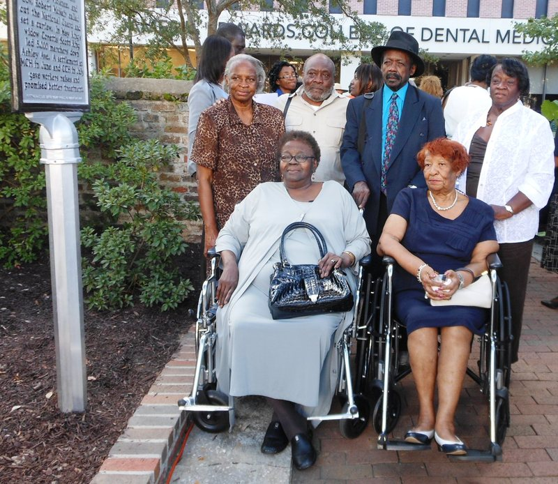 1969 Hospital Workers Strike participants at historic marker unveiling, image by Kerry Taylor, Charleston, South Carolina, October 2013.