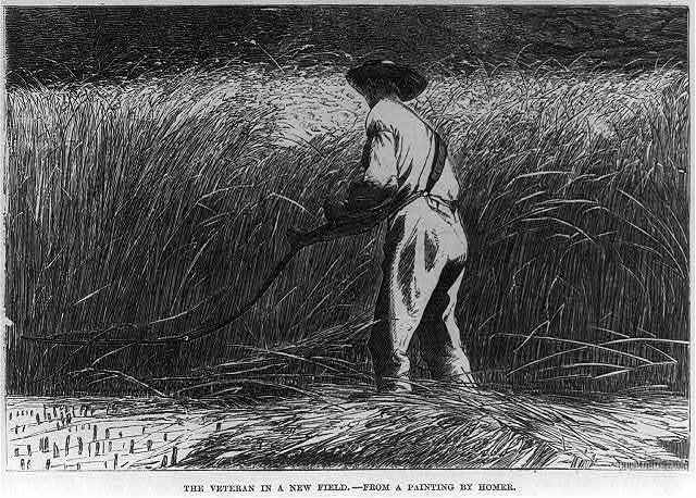 """""""<a title=""""Library of Congress"""" href=""""http://www.loc.gov/pictures/item/2002707267/"""" target=""""_blank"""">The Veteran in a new field - from a painting by Homer</a>,"""" 1867,&nbsp;<em>Frank Leslie's illustrated newspaper</em>, courtesy of Library of Congress Prints and Photographs Division."""
