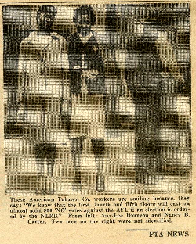 FTA-CIO Local 15 union members at the Cigar Factory, Charleston, South Carolina, detail image from FTA News, March 1948, courtesy of the South Carolina Historical Society.