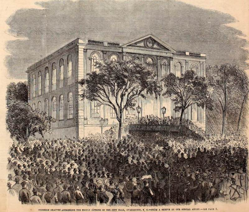 """Secession Orators Addressing the People Outside of the City Hall,"" Charleston, South Carolina, in <em>Frank Leslie's Illustrated Newspaper</em>, November 24, 1860, Charleston Museum Illustrated Newspapers Collection, courtesy of&nbsp;The Charleston Museum Archives."