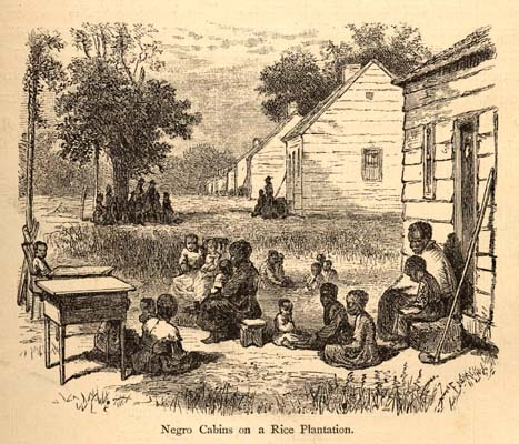 """Negro Cabins on a Rice Plantation,"" illustration from <em>The Great South; A Record of Journeys in Louisiana, Texas, the Indian Territory, Missouri, Arkansas, Mississippi, Alabama, Georgia, Florida, South Carolina, North Carolina, Kentucky, Tennessee, Virginia, West Virginia, and Maryland</em>, 1875, courtesy of Documenting the American South, UNC-Chapel Hill. Under the task system, slaves could complete a set assignment and then spend any extra time cultivating their own subsistance gardens or hunting for game."