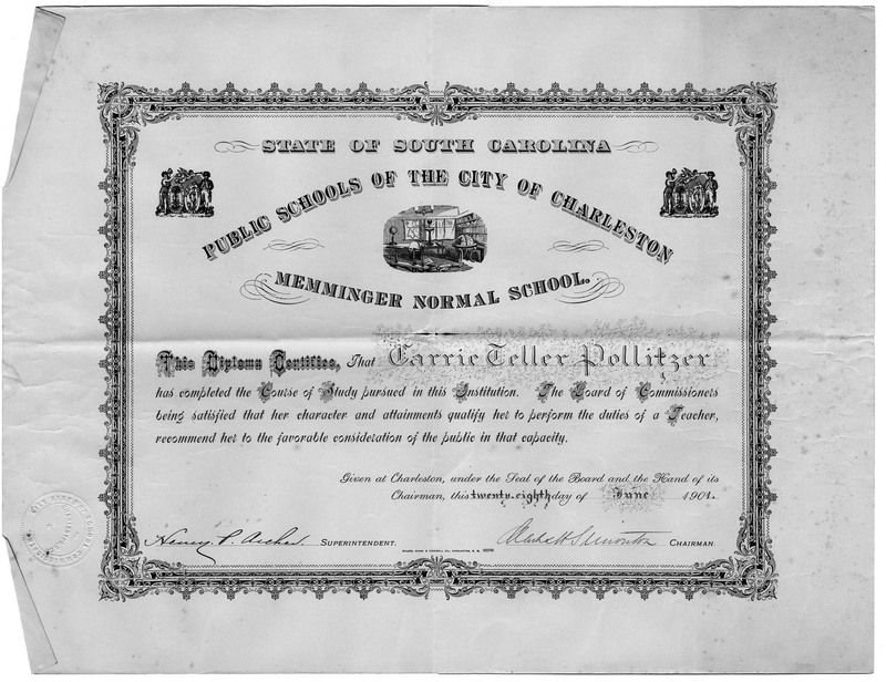 Carrie Pollitzer teaching certificate from Memminger Normal School, Charleston, South Carolina, June 28, 1901, Anita Pollitzer Family Papers, South Carolina Historical Society.