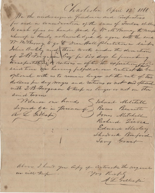 Contract between Thomas B. Ferguson and Freedmen Laborers to work on Dean Hall Plantation, Charleston, South Carolina, April 12, 1866, Heyward and Ferguson Family Papers, courtesy of the College of Charleston Libraries.