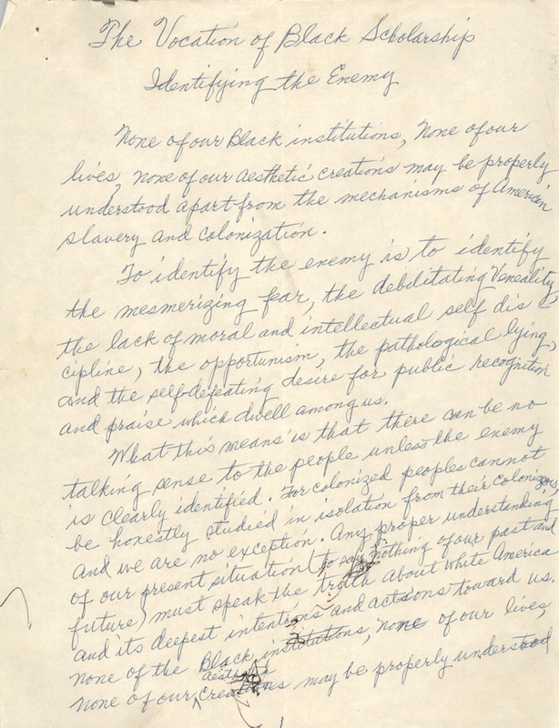 """The Vocation of Black Scholarship Identifying the Enemy,"" handwritten essay by Septima P. Clark, n.d., Septima P. Clark Papers, courtesy of the Avery Research Center."