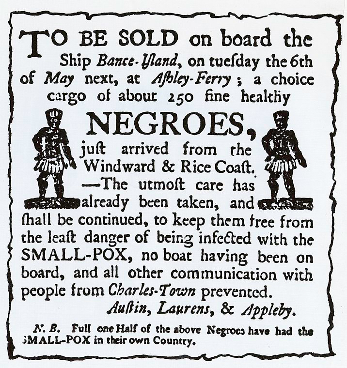 Advertisement for slave sale at Ashley Ferry Landing, Charles Town, South Carolina, ca. 1780, courtesy of Library of Congress Prints and Photographs Division.