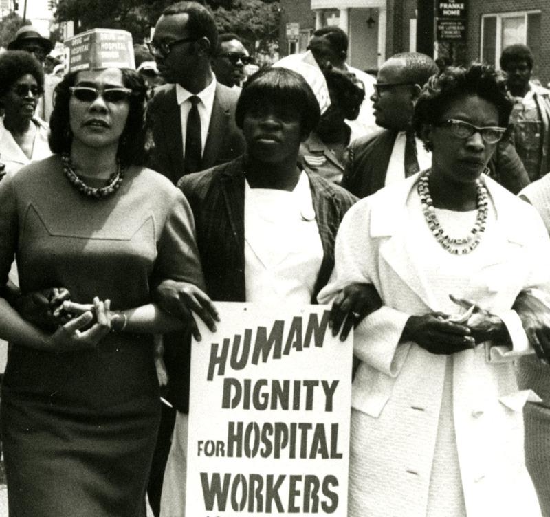 Rosetta Simmons (center) demonstrating along side Coretta Scott King (left) and Juanita Abernathy (right), Charleston, South Carolina, 1969, courtesy of the Avery Research Center.