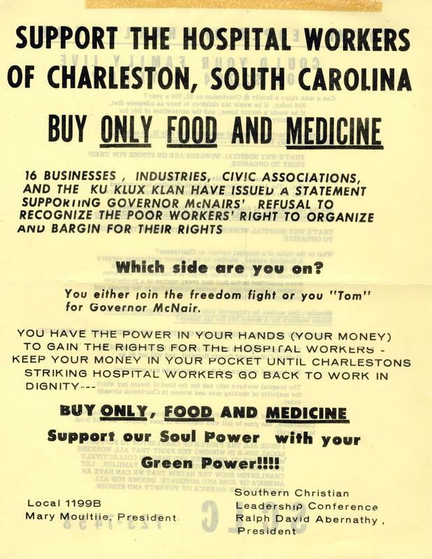 Flyer for hospital workers' boycott, Charleston, South Carolina, 1969, courtesy of the Catherwood Library Kheel Center at Cornell University.