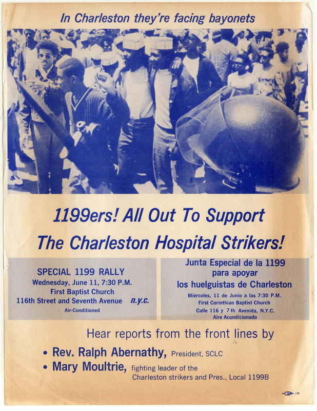 """In Charleston they're facing bayonets,"" flyer from the National Union of Hospital and Nursing Home Employees, Local 1199 Drug & Hospital Union, 1969, courtesy of Amistad Research Center."