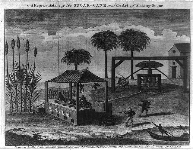 A representation of the sugar-cane and the art of making sugar, West Indies, engraved by John Hinton, 1749, courtesy of the Library of Congress.