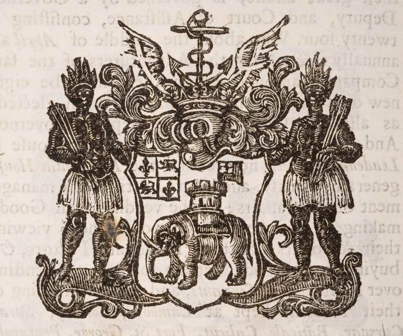 The coat of arms of the Royal African Company, late 17th century, courtesy of Museum of London.