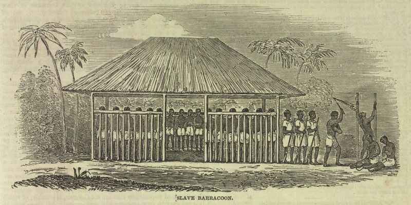 """Slave Barracoon, Sierra Leone, 1840s,"" in The Illustrated London News, April 14, 1849, courtesy of the Virginia Foundation for the Humanities and the University of Virginia Library."
