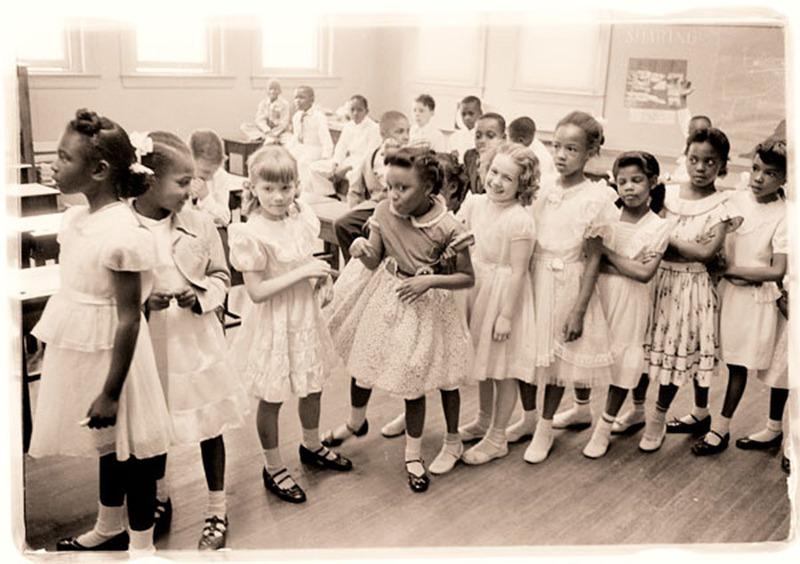 Early Integration at the Barnard Elementary School , photograph by Thomas J O'Halloran, May 27, 1955, Washington, D.C., courtesy of the Library of Congress.