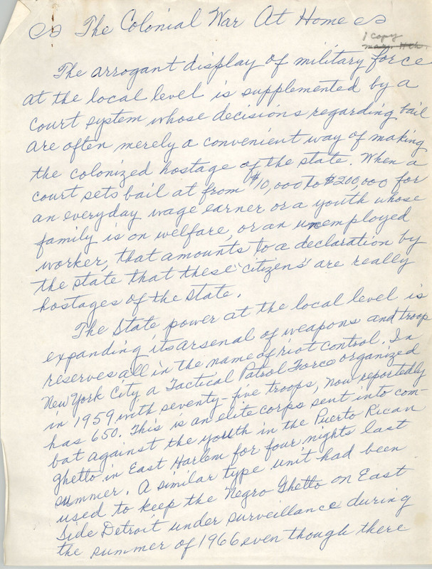 """The Colonial War at Home,"" handwritten essay by Septima P. Clark, n.d., Septima P. Clark Papers, courtesy of the Avery Research Center."