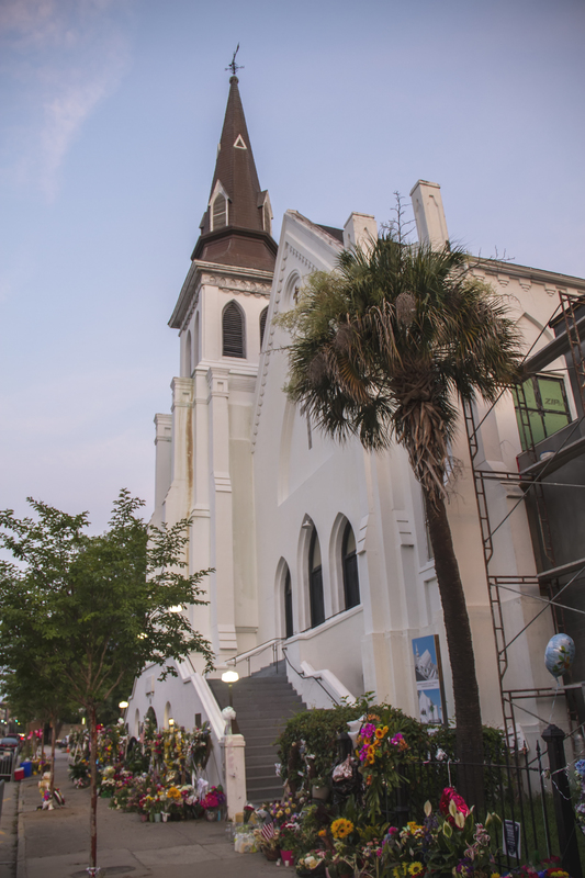 Memorabilia outside of the Emanuel AME Church, photograph by Brandon Coffey, June 29, 2015, Charleston, South Carolina.