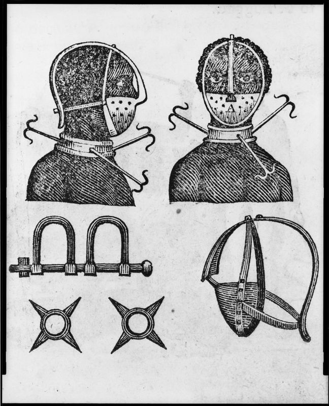 Iron mask, collar, leg shackles and spurs used to restrict slaves, woodcut by Samuel Wood,1807, courtesy of the Library of Congress.