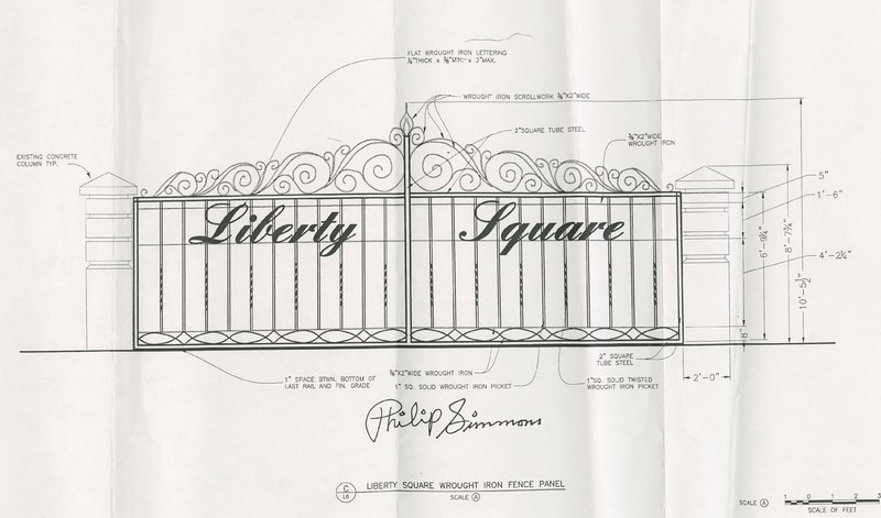 """""""Liberty Square Wrought Iron Fence Panel"""" sketch (scale A), Concord Street, Charleston, South Carolina, design by Philip Simmons, ca. 1995, Philip Simmons Collection,courtesy of the Avery Research Center."""