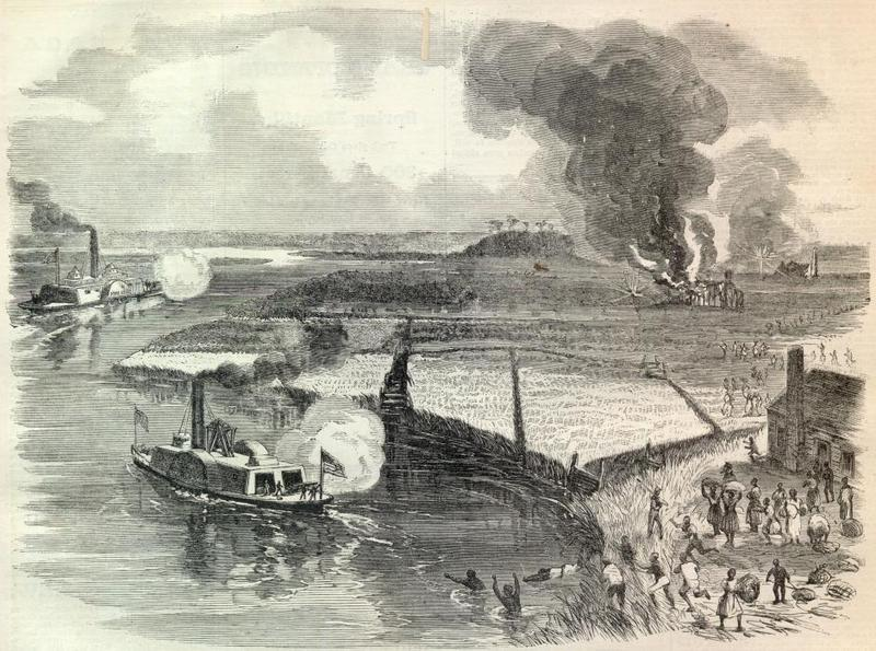 Union raid on the Combahee River, June 1863, <em>Harper's Weekly</em>.